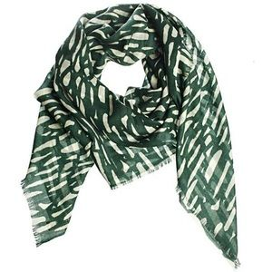 BY Malene Birger Green & Beige Wool Scarf